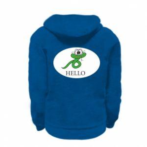 Kid's zipped hoodie % print% Hello