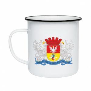 Enameled mug Bialystok coat of arms