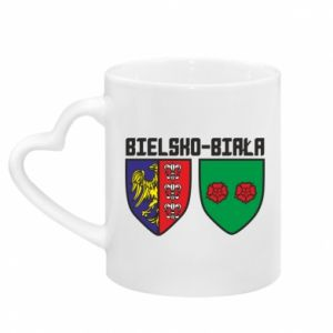 Mug with heart shaped handle Emblem Bielsko-Biala
