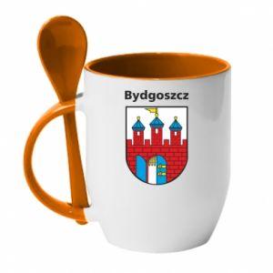 Kubek z ceramiczną łyżeczką Herb Bydgoszcz