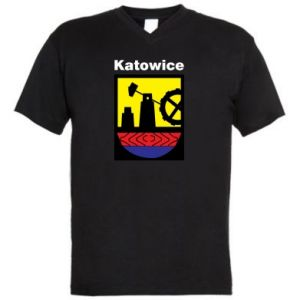 Męska koszulka V-neck Herb Katowice