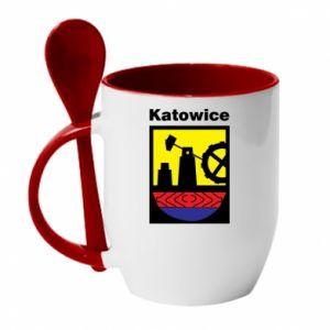 Kubek z ceramiczną łyżeczką Herb Katowice