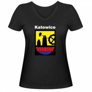 Damska koszulka V-neck Herb Katowice