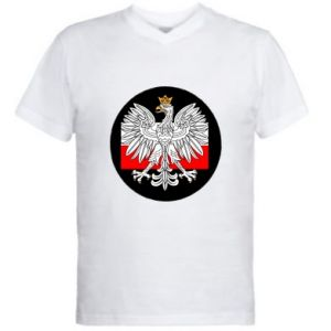 Men's V-neck t-shirt Polish emblem and flag of Poland - PrintSalon