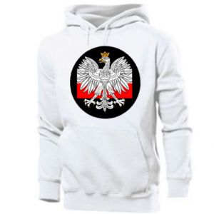 Men's hoodie Polish emblem and flag of Poland - PrintSalon