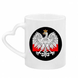 Kubek z uchwytem w kształcie serca Herb Polski i flaga Polski
