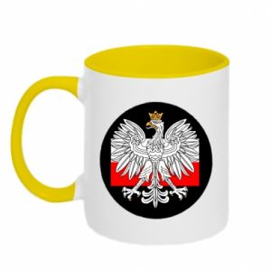 Two-toned mug Polish emblem and flag of Poland