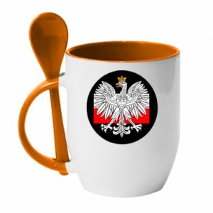 Mug with ceramic spoon Polish emblem and flag of Poland