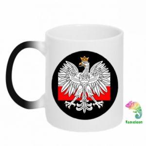 Kubek-kameleon Herb Polski i flaga Polski