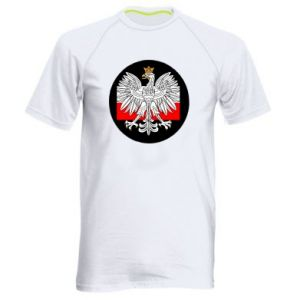 Men's sports t-shirt Polish emblem and flag of Poland - PrintSalon