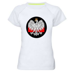 Women's sports t-shirt Polish emblem and flag of Poland - PrintSalon