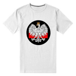 Men's premium t-shirt Polish emblem and flag of Poland - PrintSalon