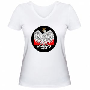 Women's V-neck t-shirt Polish emblem and flag of Poland - PrintSalon