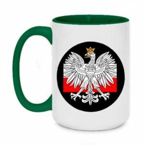 Two-toned mug 450ml Polish emblem and flag of Poland