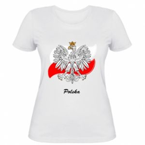 Women's t-shirt Poland Fighting against the background of the flag