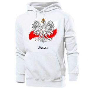 Męska bluza z kapturem Herb Polski na tle flagi