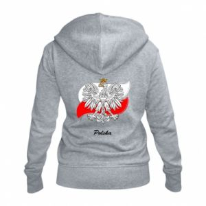 Damska bluza na zamek Herb Polski na tle flagi