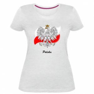 Damska premium koszulka Herb Polski na tle flagi