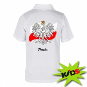 Dziecięca koszulka polo Herb Polski na tle flagi