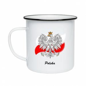 Kubek emaliowane Herb Polski na tle flagi