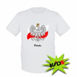 Kids T-shirt Poland Fighting against the background of the flag