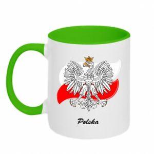 Kubek dwukolorowy Herb Polski na tle flagi
