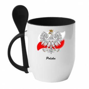 Kubek z ceramiczną łyżeczką Herb Polski na tle flagi