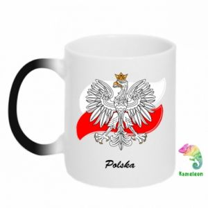 Kubek-kameleon Herb Polski na tle flagi