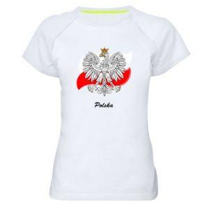 Damska koszulka sportowa Herb Polski na tle flagi