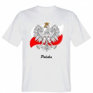 Koszulka Herb Polski na tle flagi