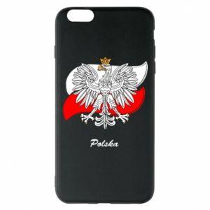 Etui na iPhone 6 Plus/6S Plus Herb Polski na tle flagi