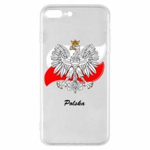 Etui na iPhone 7 Plus Herb Polski na tle flagi