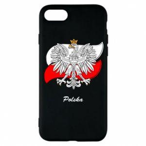 Etui na iPhone 8 Herb Polski na tle flagi