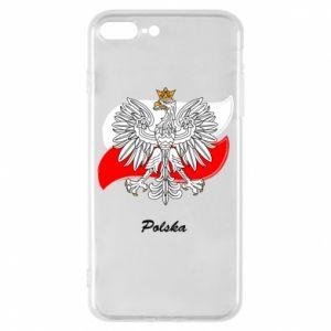 Etui na iPhone 8 Plus Herb Polski na tle flagi
