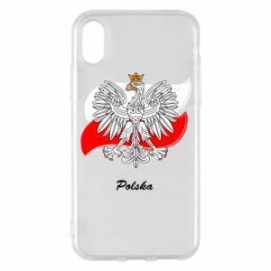 Etui na iPhone X/Xs Herb Polski na tle flagi