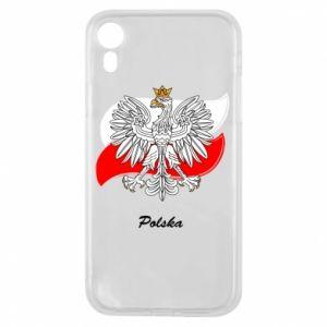 Etui na iPhone XR Herb Polski na tle flagi