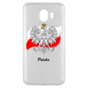 Etui na Samsung J4 Herb Polski na tle flagi