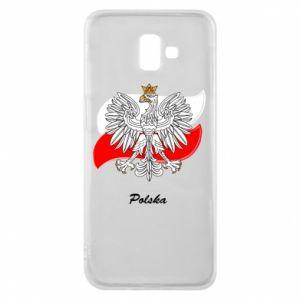 Etui na Samsung J6 Plus 2018 Herb Polski na tle flagi