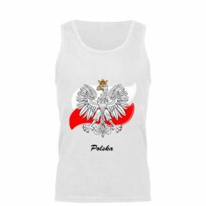 Męska koszulka Herb Polski na tle flagi