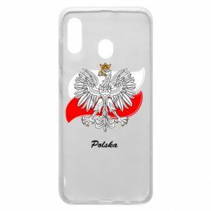 Etui na Samsung A20 Herb Polski na tle flagi