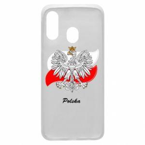 Etui na Samsung A40 Herb Polski na tle flagi
