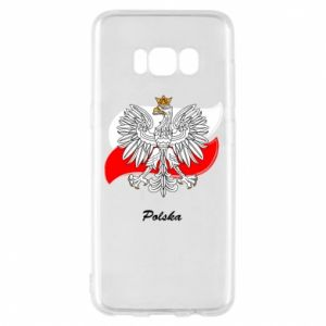 Etui na Samsung S8 Herb Polski na tle flagi