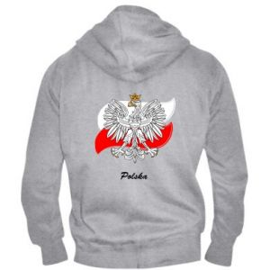 Męska bluza z kapturem na zamek Herb Polski na tle flagi