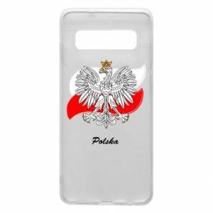 Etui na Samsung S10 Herb Polski na tle flagi