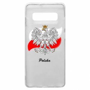 Etui na Samsung S10+ Herb Polski na tle flagi