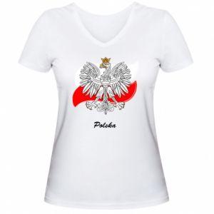 Damska koszulka V-neck Herb Polski na tle flagi
