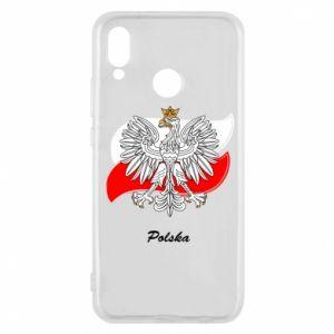 Etui na Huawei P20 Lite Herb Polski na tle flagi
