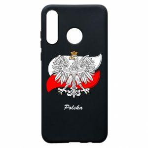 Etui na Huawei P30 Lite Herb Polski na tle flagi