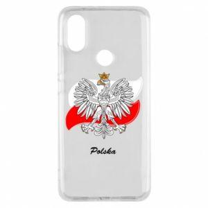 Etui na Xiaomi Mi A2 Herb Polski na tle flagi
