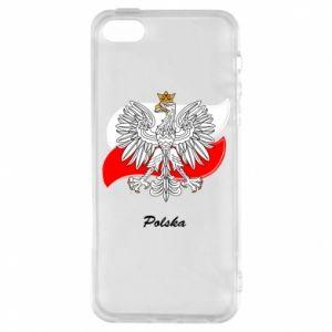 Etui na iPhone 5/5S/SE Herb Polski na tle flagi